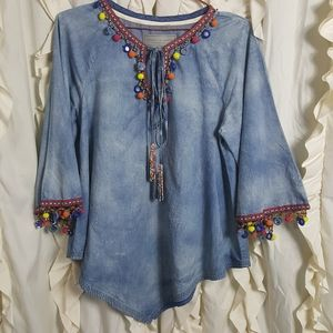 Double D Ranch Chambray Beaded Wide Sleeve Shirt